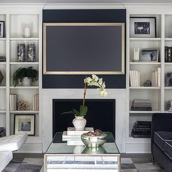 Navy Blue Sofa Transitional Living Room Sloan Mauran