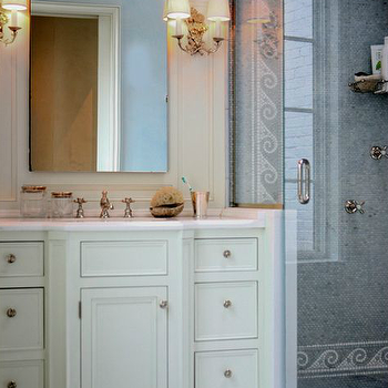 Sage Design - bathrooms - angle shower, angled shower, blue mosaic tiles, blue mosaic shower surround, blue shower tiles, blue mosaic shower tiles, glass shower door, ivory vanity, ivory bath vanity, ivory bathroom vanity, ivory washstand, white marble, white marble countertop, arch mirror, arched mirror, french sconces,