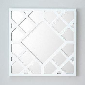 Mirrors - Lattice Mirror I Garnet Hill - white trellis mirror, white lattice mirror, lacquered white lattice mirror, square shaped white trellis mirror, square shaped white lattice mirror,