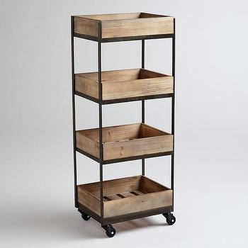 Storage Furniture - 4-Shelf Wooden Gavin Rolling Cart | World Market - wooden rolling cart, wood and steel rolling cart, rolling crate cart,