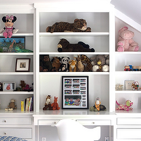 Sage Design - girl's rooms - white rocker, white eames rocker, built in shelves, built in desk, built in cabinets, shelves over desk, shelves above desk, kids desk, kids built in desk, kids built ins, kids built in cabinets, kids bookshelves, kids built in bookshelf, kids built in bookcase,