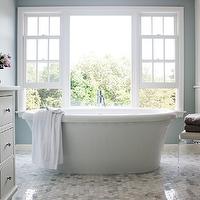 Sage Design - bathrooms - carrera hex tiles, white carrera hex tiles