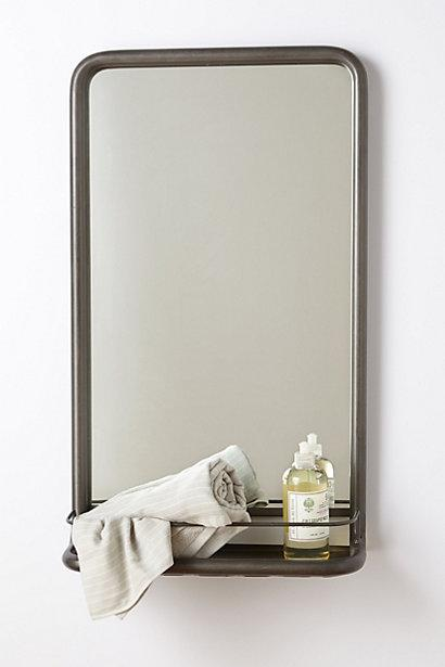 Mirrors - Washroom Mirror I anthropologie.com - metal washroom mirror, vintage style bathroom mirror, vintage metal bathroom mirror, metal bathroom mirror with ledge,
