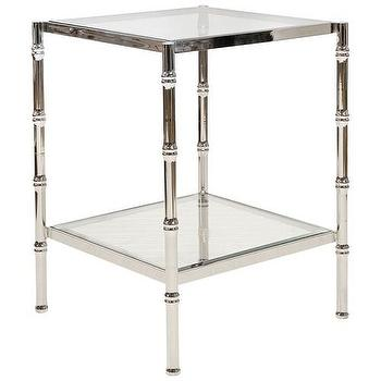 Tables - Worlds Away Serena Nickel Side Table I Zinc Door - polished nickel faux bamboo side table, nickel faux bamboo side table, nickel faux bamboo side table with glass shelves,