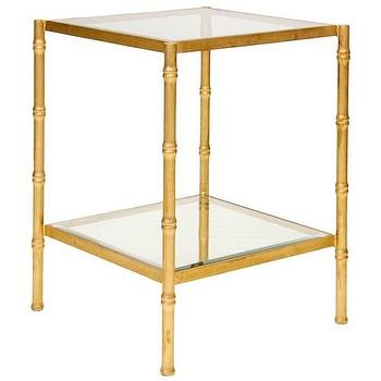 Tables - Worlds Away Serena Gold Side Table I Zinc Door - gold faux bamboo side table, glass and gold faux bamboo side table, gold faux bamboo side table with glass shelves,