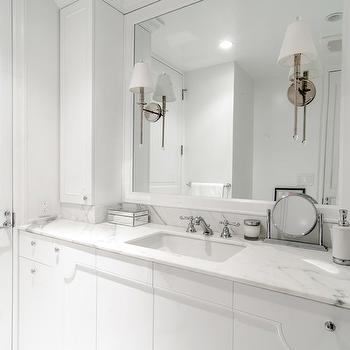 Leib Design - bathrooms - white bathroom, all white bath, all white bathroom, white cabinets, white bath cabinets, white marble countertops, glossy white mirror, lacquer mirror, white lacquer mirror, lacquered mirror, white lacquered mirror, sleek bath, sleek bathroom,