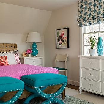 Katie Rosenfeld Design - girl's rooms - teen room, teen bedroom, woven headboard, platform bed, pink quilt, white shag pillows, turquoise bench, turquoise blue bench, turquoise velvet bench, turquoise blue velvet bench, turquoise ottoman, turquoise blue ottoman, bamboo nightstand, white bamboo nightstand, faux bamboo nightstand, white bamboo dresser, bamboo dresser, faux bamboo dresser, turquoise vase, turquoise blue vase, hive vase, turquoise hive vase, mosaic jewelry box, mosaic tiled jewelry box, white and peacock blue roman shade, patterned roman shade, peacock blue gourd lamp, double gourd lamp, peacock blue double gourd lamp, peacock double gourd lamp,