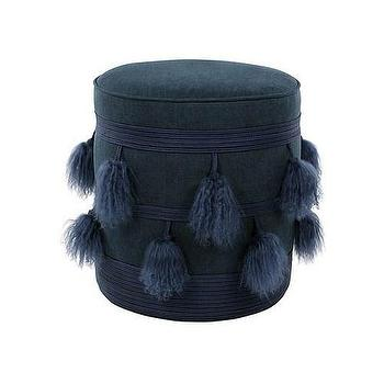 Seating - V Rugs & Home Mia Pouf I Zinc Door - navy blue pouf, navy blue pouf with tassels, navy blue tassled pouf,