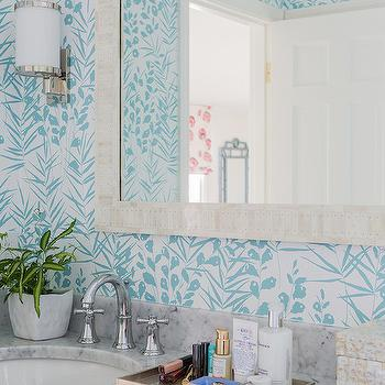 Katie Rosenfeld Design - bathrooms - white and blue wallpaper, bathroom wallpaper, cream mirror, white carrera marble, white carrera marble counter, white carrera marble countertop,