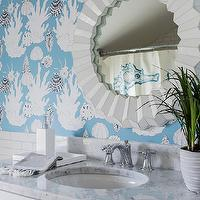 Katie Rosenfeld Design - bathrooms - white and blue bath, white and blue bathroom, bathroom wallpaper, sea life wallpaper, white and blue wall covering, white mirror, round white mirror, white vanity, white carrera marble, white carrera marble countertop, white lacquer tray, bathroom tray,