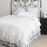 Bedding - Linen Whisper Duvet I anthropologie.com - pale blue linen bedding, pale blue linen duvet, pale blue ruffled linen bedding, pale blue ruffled linen duvet,