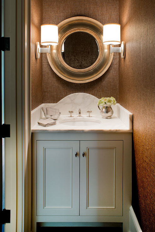 Grasscloth In Powder Room Transitional Bathroom Wayne