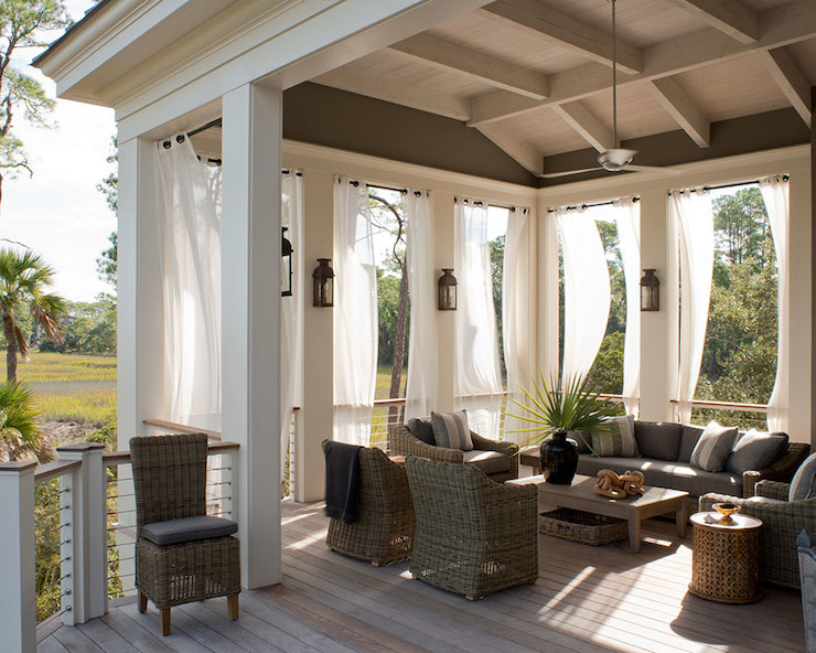 Curtains Ideas rattan curtains : Outdoor Curtains - Transitional - deck/patio - Wayne Windham Architect
