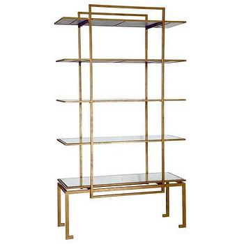 Storage Furniture - Bungalow 5 Anton Etagere I Zinc Door - gold leafed glass etagere, gold geometric etagere, antiqued gold leafed etagere,