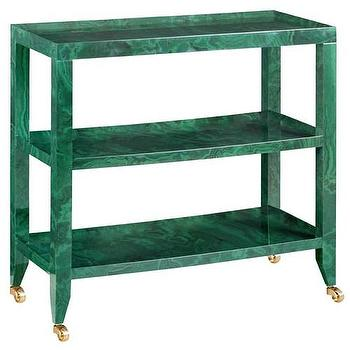 Tables - Bungalow 5 Isadora Console Table I Zinc Door - malachite console table, malachite bar cart, malachite cart on castors,