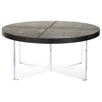 Tables - Zentique Alf Coffee Table I Zinc Door - zinc topped acrylic coffee table, round acrylic coffee table with zinc top, zinc coffee table with modern acrylic base,