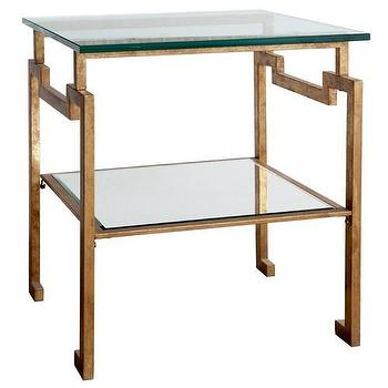 Tables - Bungalow 5 Anton Side Table I Zinc Door - gold leafed glass topped side table, antique gold leafed side table, geometric antique gold leafed side table,