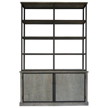 Storage Furniture - Zentique Lincoln Large Cabinet I Zinc Door - rustic industrial cabinet, oak cabinet with iron shelves, oak cabinet with iron frame and shelves,