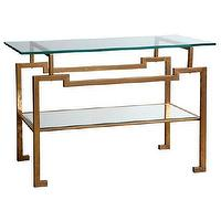 Tables - Bungalow 5 Anton Console I Zinc Door - gold leafed glass topped console table, modern gold console table with glass top, glass console table with geometric gold leafed base,