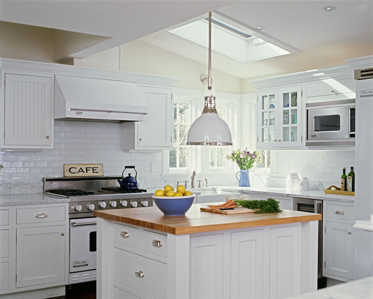 White Beadboard Cabinets Cottage kitchen Smith River