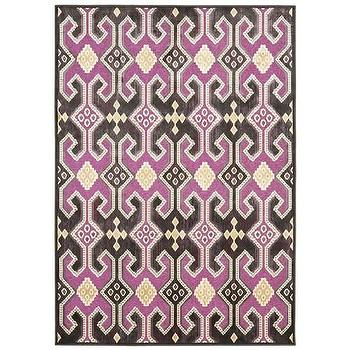Rugs - Paradise Fuchsia Loomed Rug I Zinc Door - purple and gray geometric rug, purple and gray graphic rug, purple gray and yellow geometric rug,