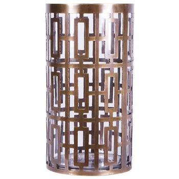 Decor/Accessories - Jamie Young Cypress Brass Hurricane I Zinc Door - brass hurricane, geometric brass hurricane, geometric brass hurricane candle holder,