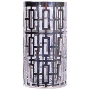 Decor/Accessories - Jamie Young Cypress Silver Hurricane I Zinc Door - silver hurricane, geometric silver hurricane, silver geometric hurricane candle holder,