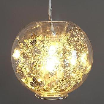 Lighting - Artecnica Garland Globe Pendant I Urban Outfitters - glass pendant, filled glass pendant, glass pendant with floral interior, garland filled glass globe pendant,