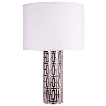 Lighting - Jamie Young Cypress Silver Table Lamp I Zinc Door - silver geometric table lamp, modern silver table lamp, silver fretwork table lamp,