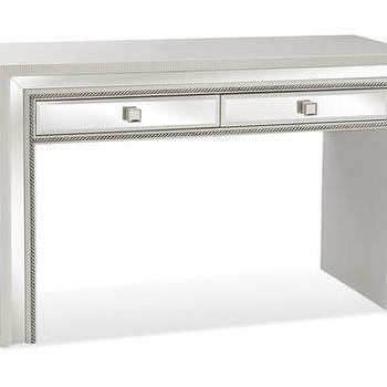 Storage Furniture - Armando Console | Vielle and Frances - white mirrored console, white mirrored desk, white console table with mirrored front,