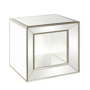 Storage Furniture - Minetta Mirrored Accent Table | Vielle and Frances - mirrored accent table, white accent table with mirrored front, white mirrored accent table,