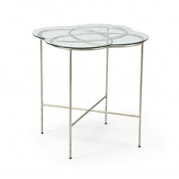 Tables - Lover Side Table | Vielle and Frances - silver leafed iron side table, silver leafed side table with glass top, clover shaped glass side table with silver base,