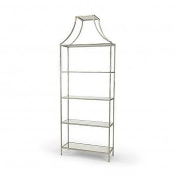 Storage Furniture - Ellis Iron Shelf in Silver Leaf | Vielle and Frances - silver leafed iron shelf, silver leafed shelf, silver leafed shelf with pagoda top, silver etagere, silver etagere with pagoda top,