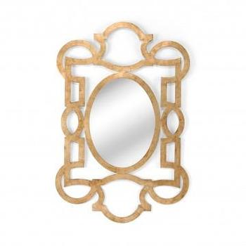 Mirrors - Ellis Metal Mirror in Gold Leaf | Vielle and Frances - gold leafed mirror, contemporary gold leafed mirror, gold leafed mirror with scrolled frame,