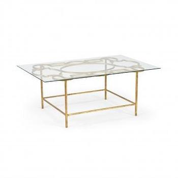 Tables - Ellis Cocktail Table | Vielle and Frances - gold based glass coffee table, gold based glass cocktail table, gold leafed coffee table with glass top,