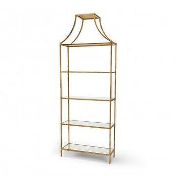 Storage Furniture - Ellis Iron Shelf in Gold Leaf | Vielle and Frances - gold leafed etagere, gold leafed iron shelf, gold leafed shelf with pagoda top, gold etagere, gold leafed etagere with glass shelves,