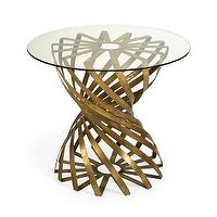 Tables - Ariel Side Table | Vielle and Frances - sculptural gold side table with glass top, modern gold side with glass top, gilded geometric side table with glass top,