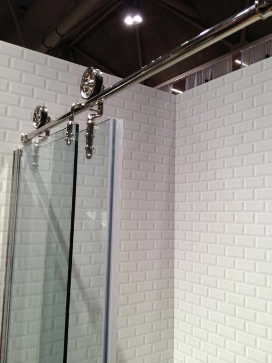 Shower barn door on pinterest for Bathtub shower doors hardware