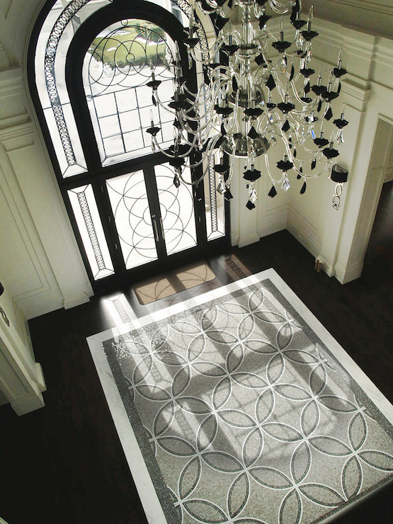 Mosaic Tile Rug Contemporary Entrance Foyer Terra Verre