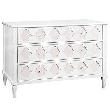 Storage Furniture - Bungalow 5 Marisa White & Beige Large 3-Drawer Chest I Layla Grayce - white and beige moroccan motif dresser, white lacquered moroccan style dresser, white and beige moroccan motif dresser, white lacquered dresser with moroccan tile drawers,