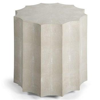 Tables - Regina Andrew Furniture Marilyn Table I Layla Grayce - faux shagreen side table, sunburst shaped faux shagreen side table, gray and ivory faux shagreen side table,