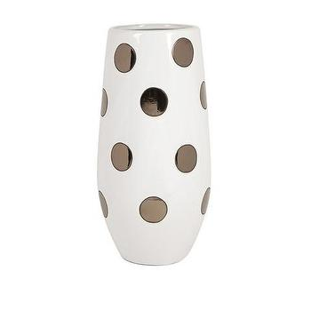 Decor/Accessories - Mellie Metallic Polka Dot Vase | Vielle and Frances - metallic polka dot vase, white vase with metallic polka dots, gold and white polka dot vase,