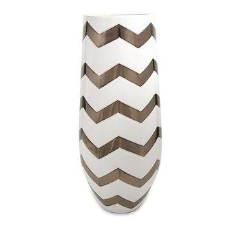 Decor/Accessories - Jackie Bronze Metallic Chevron Vase | Vielle and Frances - metallic chevron vase, white vase with metallic chevron pattern, white vase with metallic bronze chevron pattern,