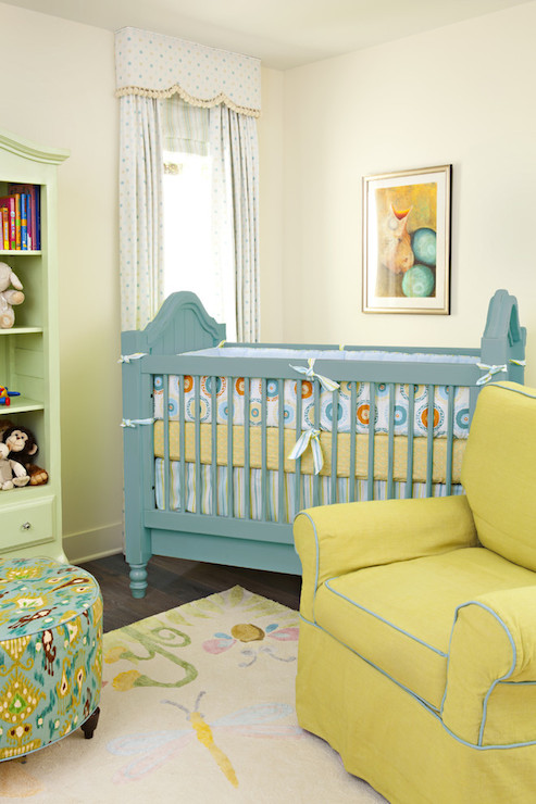 Yellow nursery chair : Blue and yellow nursery