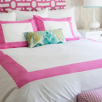 Annette Tatum - girl's rooms - white and pink headboard, geometric headboard, pink geometric headboard, teen girl room, teen girls room, teen girls bedroom, teen girl bedroom, schumacher wallpaper, mint green wallpaper, ivory and green wallpaper, pink duvet, white and pink duvet, pink border duvet, pink border bedding, white and pink duvet, white and pink border duvet, pink windowpane duvet, x bench, kids bedding, white and pink border bedding, white and pink border duvet, white and pink shams, border shams, pink border shams, border shams, ikat lumbar pillow, ikat lumbar pillow, turquoise ikat pillow, x bench, bench at foot of bed, white x bench, paisley stool, paisley bench, pink paisley stool, pink paisley bench, tulip lamp, tulip table lamp, paisley wallpaper, hand blocked wallpaper, Jaipur Kerala Paisley Wallpaper, Candy Windowpane Duvet, Bungalow 5 Jacqui 3-Drawer Side Table, White Tulip Lamp,