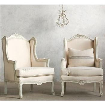 Seating - Eloquence One of a Kind Bergeres Louis XV White I Layla Grayce - gray and white bergere chair, gray and white french style chair, french style chair with pale gray and white finish,