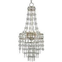 Lighting - Currey & Company Rainhill Chandelier I Layla Grayce - crystal beaded chandelier, silver crystal beaded chandelier, silver chandelier with tiered crystal beads,