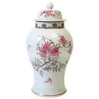 Decor/Accessories - Bungalow 5 Bloome Temple Jar I Layla Grayce - floral temple jar, taupe and pink floral ginger jar, floral patterned ginger jar, pink and taupe floral temple jar,