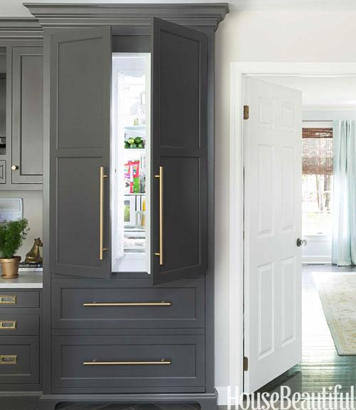 Gray Refrigerator Transitional kitchen
