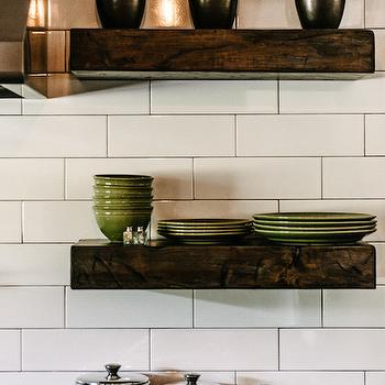 Van Wicklen Design - kitchens - backsplash tile patterns, kitchen shelves, kitchen shelving, chunky shelves, chunky wood shelves, chunky floating shelves, stainless steel canisters, stainless steel hood, green dishware, stacked shelves, stacked shelving, wood floating shelves,